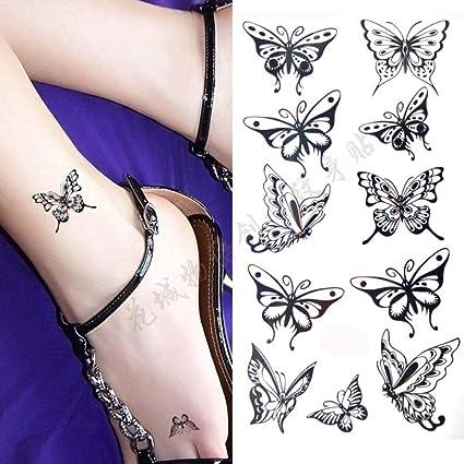 Mariposa negra Body Art tatuaje falso a prueba de agua para mujer ...