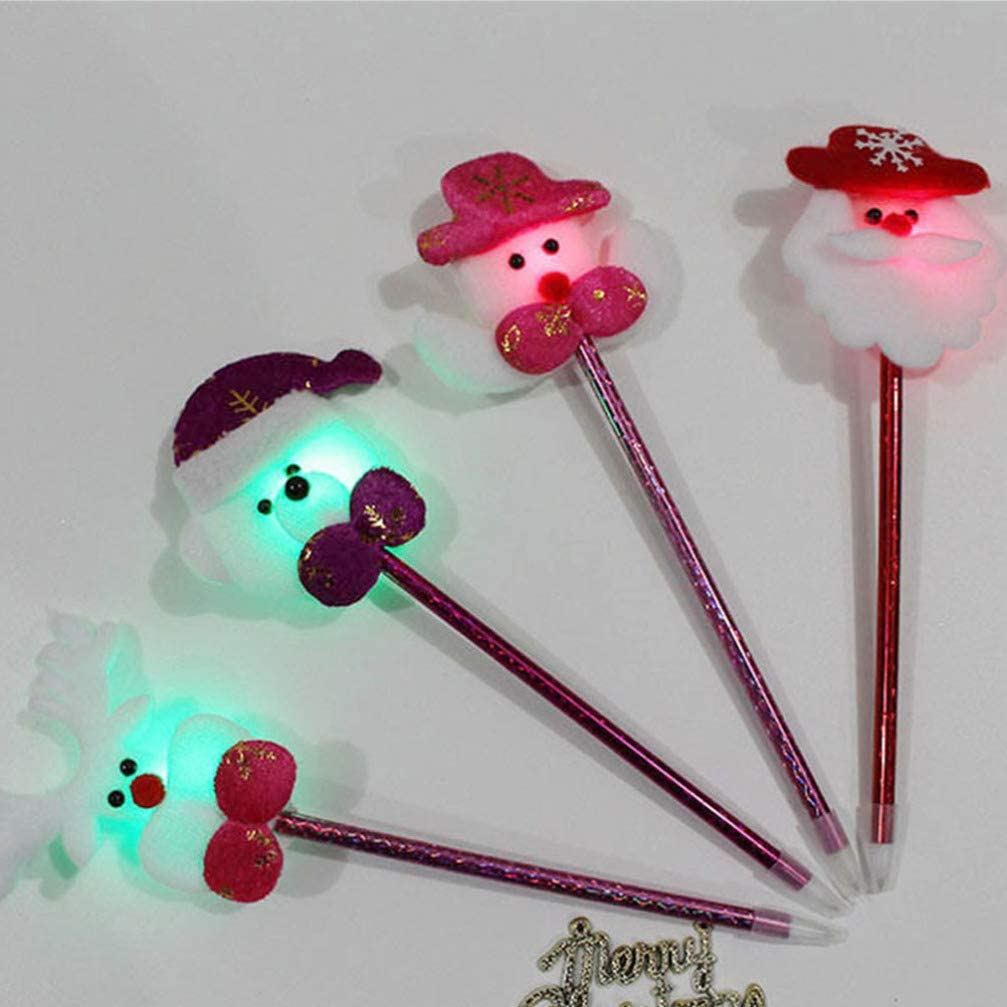 NUOBESTY 6pcs Christmas Themed Lighting Ballpoint Pens Party Favors Decorations School Office Stationery Supplies for Children Students Random Styles