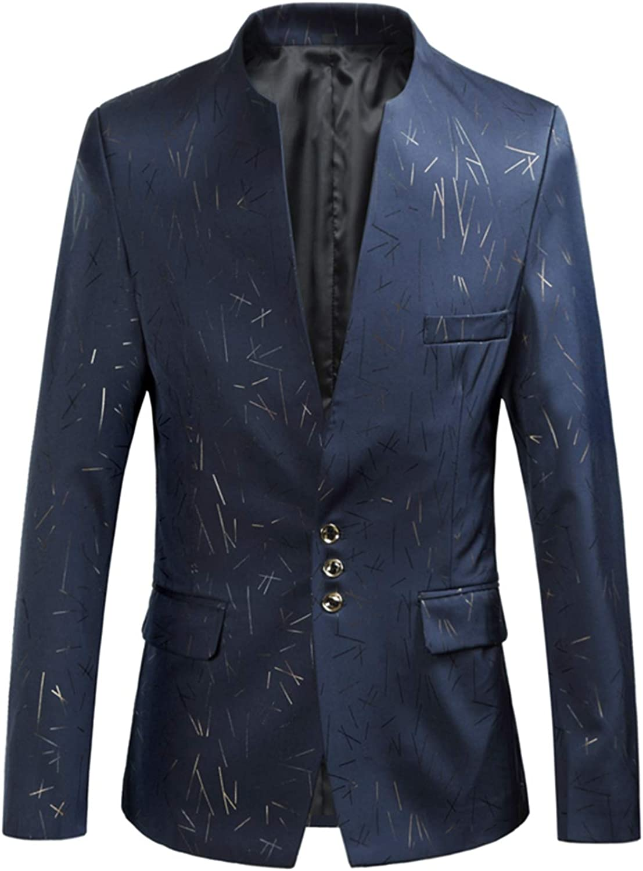 Mens Suit Jacket Blazer Men Blazer Fashion Bronzing Print Slim Fit Slender Handsome Standing Collar