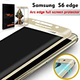 "Galaxy S6 Edge Protection écran, TEFOMATE® Verre Trempé Protecteur Tempered Glass Screen Protector pour Samsung Galaxy S6 Edge 5.1"" [Curved 3D] [Gold]"