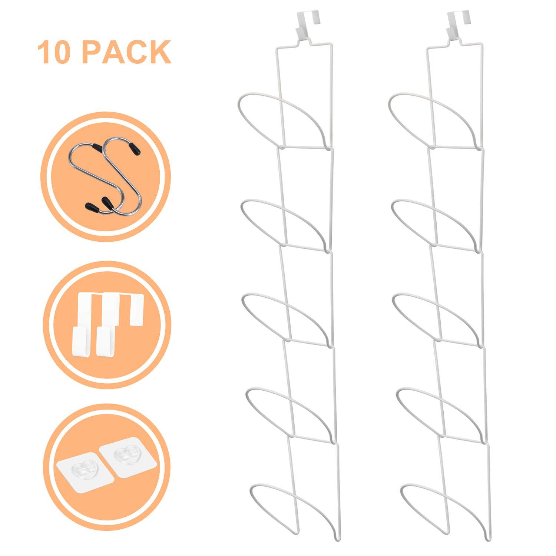 Livememory Hat Rack, Baseball Caps Rack Holder Hanger Storage Hat Organizer for Door, Wall, Closet, Bathroom, Set of 2-10pcs (White)