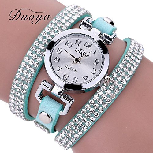 Gift Watch Wensltd Clearance Sale! Women Casual Wrist Bracelet Watch with Fashion Round Silver Dial Gift (Light Blue) (Silver Light Dial Womens)
