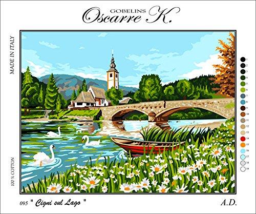 (Krainer Needlepoint Kit Swans on The Lake 19.7