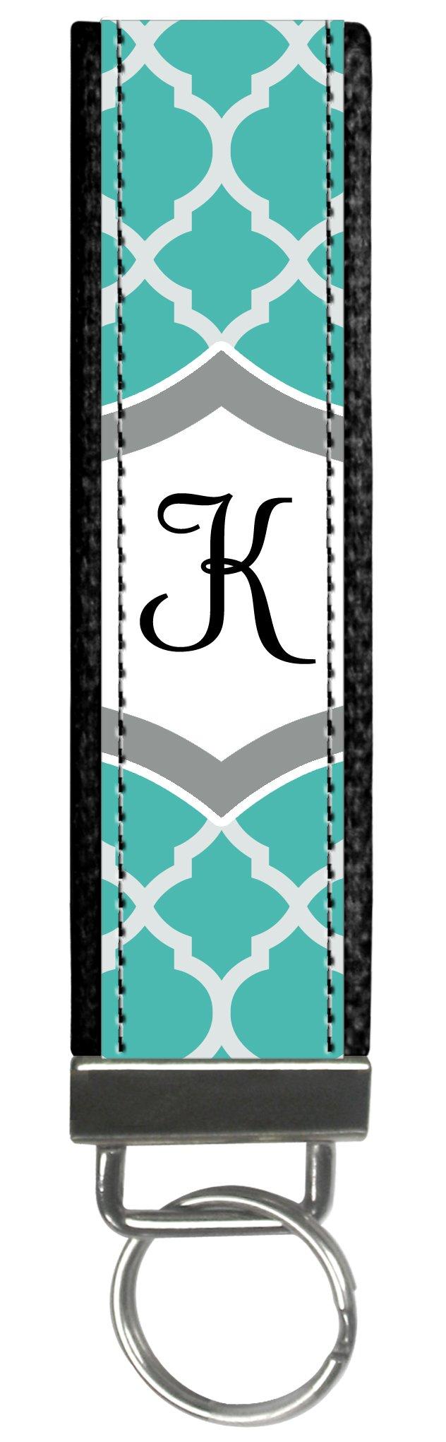 Snaptotes Teal Moroccan Design Monogram Wristlet Keyfob Keychain,Letter K