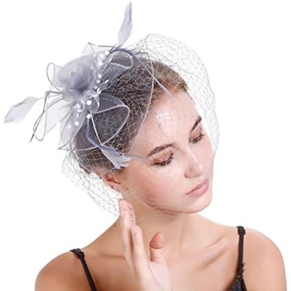 Tocado vintage elegante con diseño de flor y plumas a7254988322b