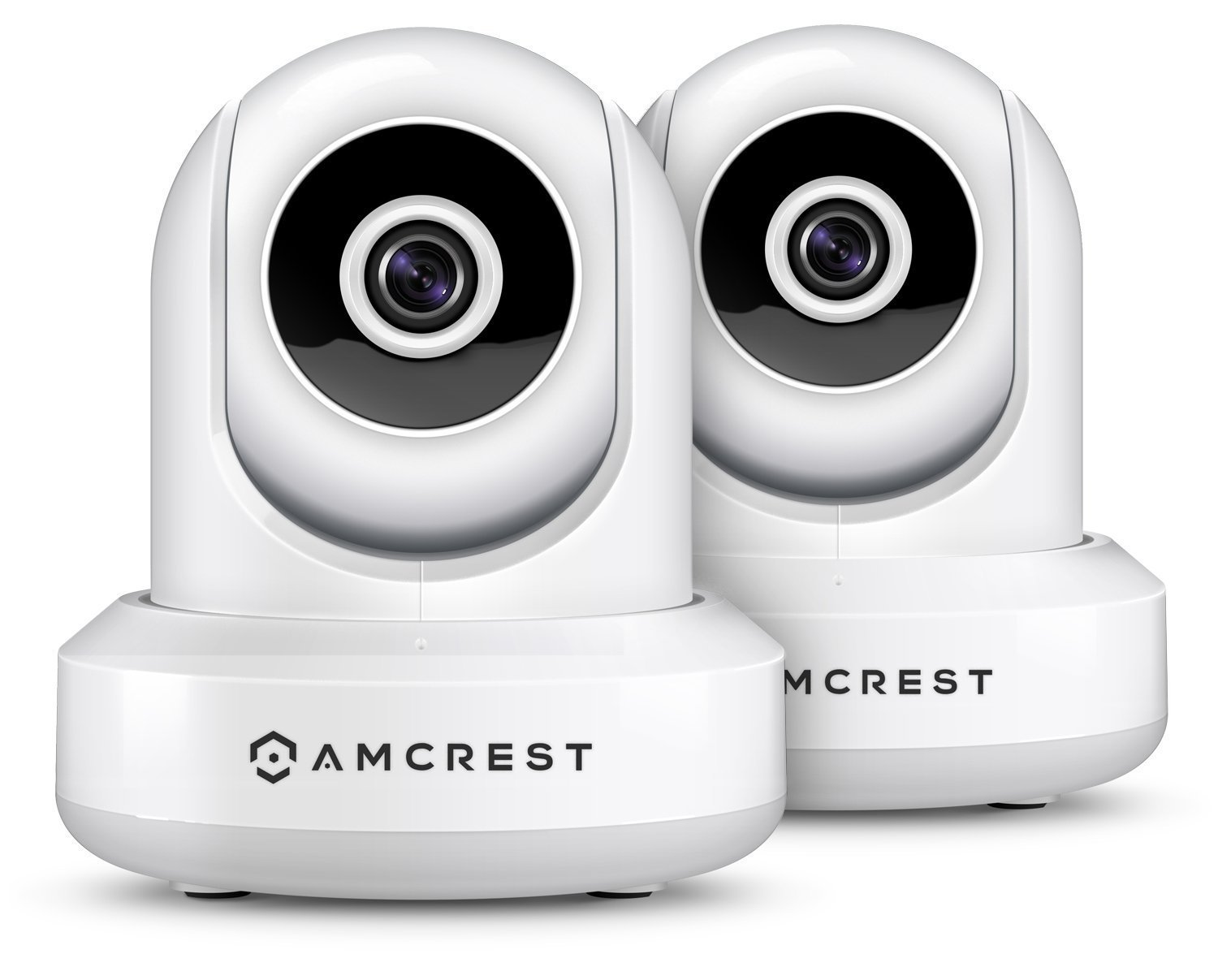 2-Pack Amcrest ProHD IP2M-841EW 1080P POE (Power Over Ethernet) IP Camera w/ Pan/Tilt, Two-Way Audio, 90 Degree FOV, (White)