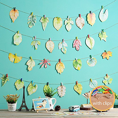 - Yansion 35 Wooden Photo Clips with Paper Leaves Wall Hanging Postcards Picture Frames Multi Pictures Organizer & Hanging Display Frames for Students Dorms Bedroom Decoration
