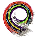 Shappy 110 Pieces Braided Imitation Leather Cord Wax Cord Rope Necklace Chain with Lobster Clasp for DIY Jewelry Making, Mix Color