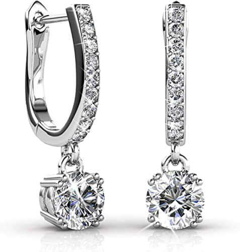 Crystals 925 Sterling Silver Earrings Teadrop Brilliant Crystal Dangle Earrings