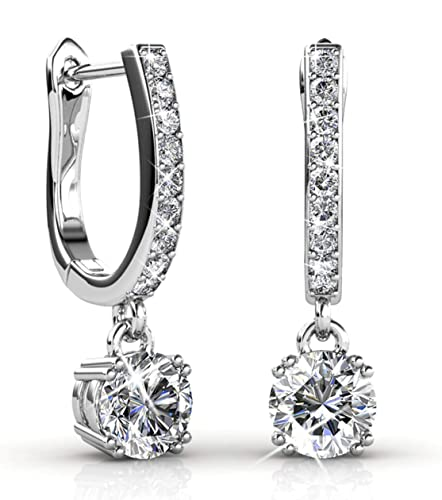 51d6d714c Amazon.com: Jade Marie ASTONISHING Silver Dangle Brilliant Round Crystal  Earrings, 18k White Gold Plated Horseshoe Dangle Earrings with Swarovski  Crystals: ...