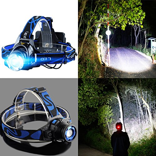 LIYUDL Brightest Zoomable Headlamp,XM-L Q5 5500 Lumen flashlight - 3 Modes Rechargeable Headlight Flashlights,Hard Hat Light, Bright Head Lights, Running or Camping headlamp by LIYUDL (Image #1)