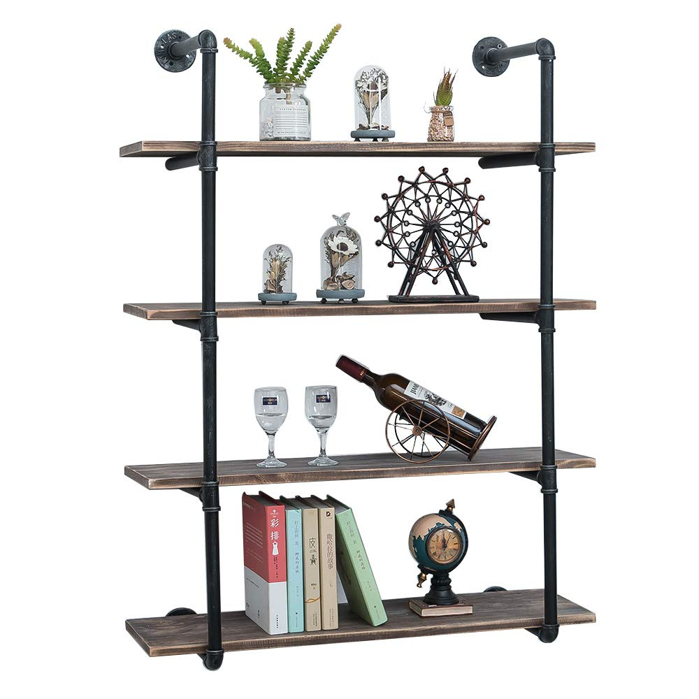 GWH Industrial Pipe Shelving Wall Mounted,36in Rustic Metal Floating Shelves,Steampunk Real Wood Book Shelves,Wall Shelf Unit Bookshelf Hanging Wall Shelves,Farmhouse Kitchen Bar Shelving(4 Tier)