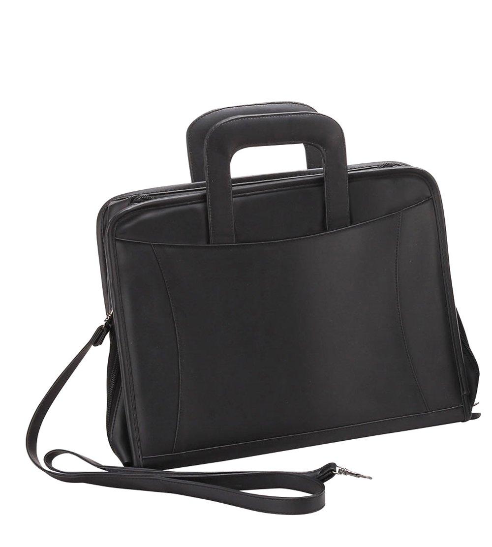 Bellino P8121 Executive Leather Zip-Around Binder Briefcase Padfolio, 3 Ring, Black