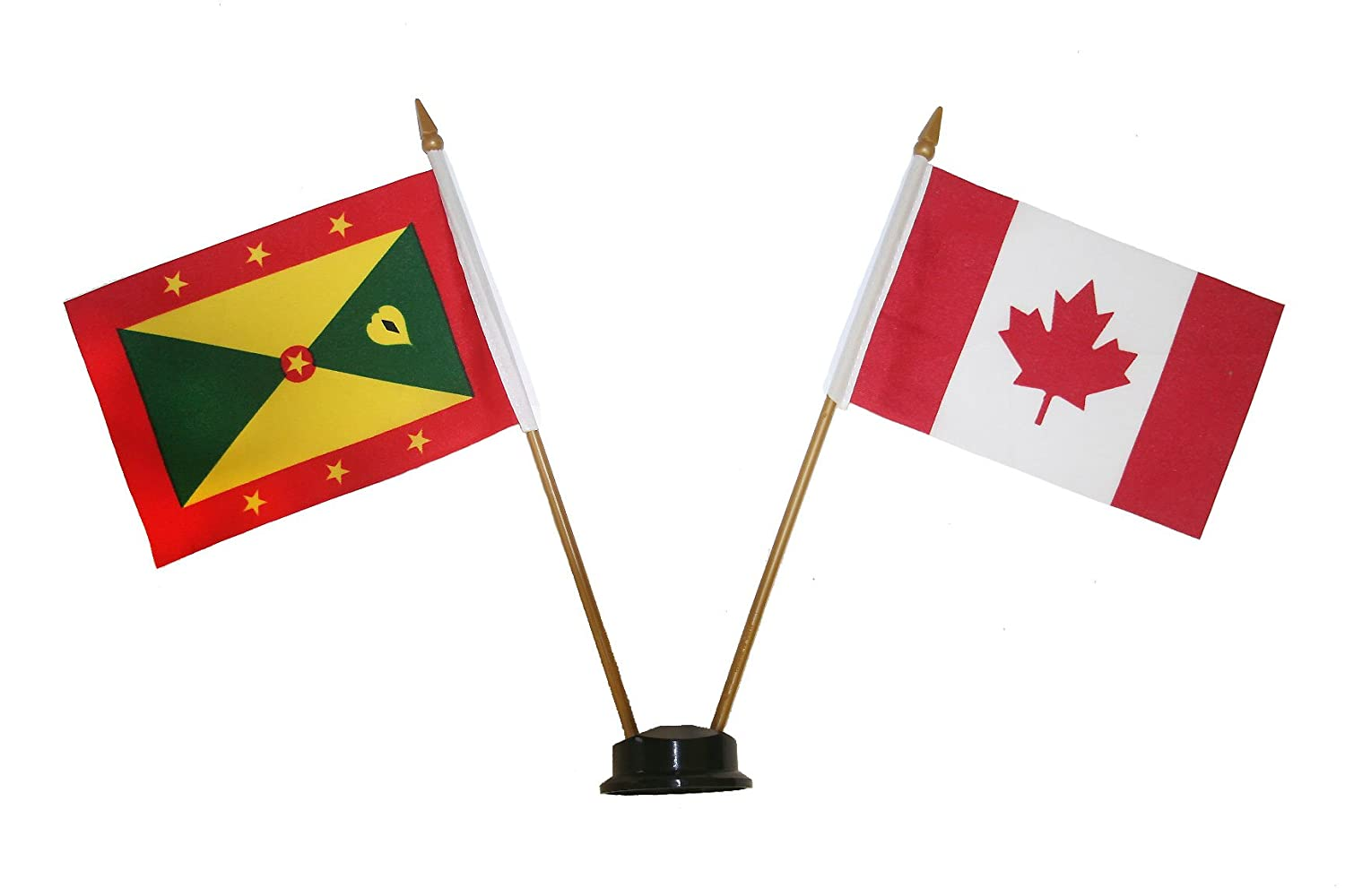 GRENADA & CANADA Small 4 X 6 Inch Mini Double Country Stick Flag Banner with BLACK STAND on a 10 Inch Plastic Pole .. New SUPERDAVES SUPERSTORE