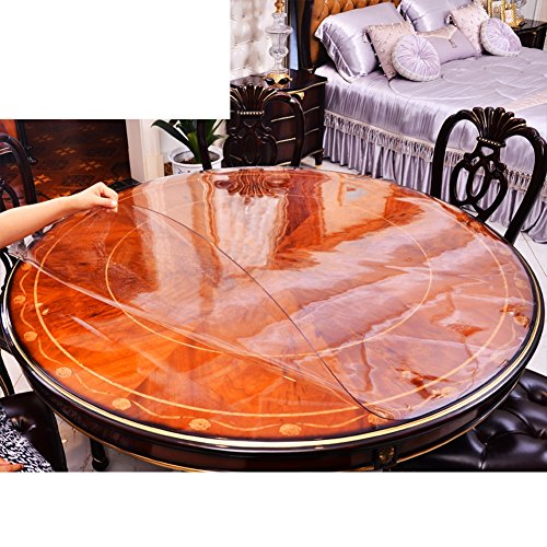Round Tablecloth,Waterproof And Oil-free Pvc Soft Glass Table Mat,Rubber Mat Crystal Board Hotel Tablecloth,Tea Table Mats-G diameter140cm(55inch)