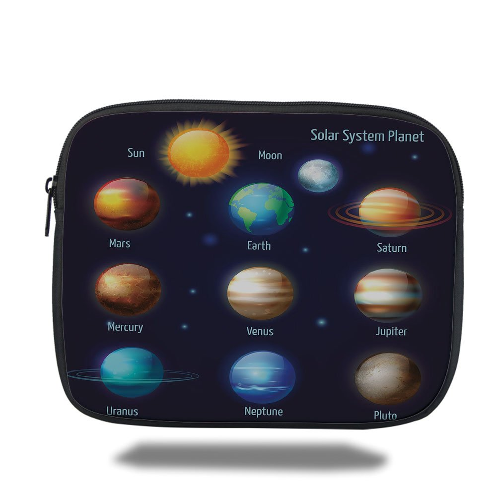 Laptop Sleeve Case,Educational,Solar System Planets and the Sun Pictograms Set Astronomical Colorful Design,Multicolor,iPad Bag