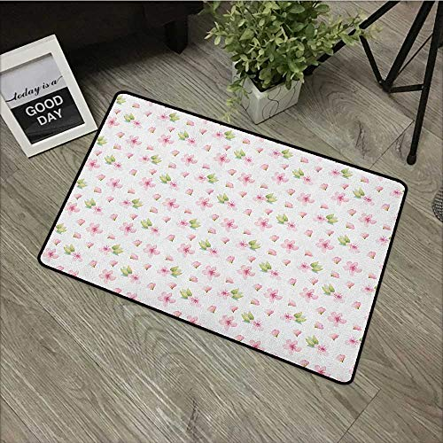 pad W31 x L47 INCH Cherry Blossom,Fresh Spring Meadow Fragrance Joy and Love Tender Season Flowers, Pale Pink Green White Non-Slip, with Non-Slip Backing,Non-Slip Door Mat Carpet