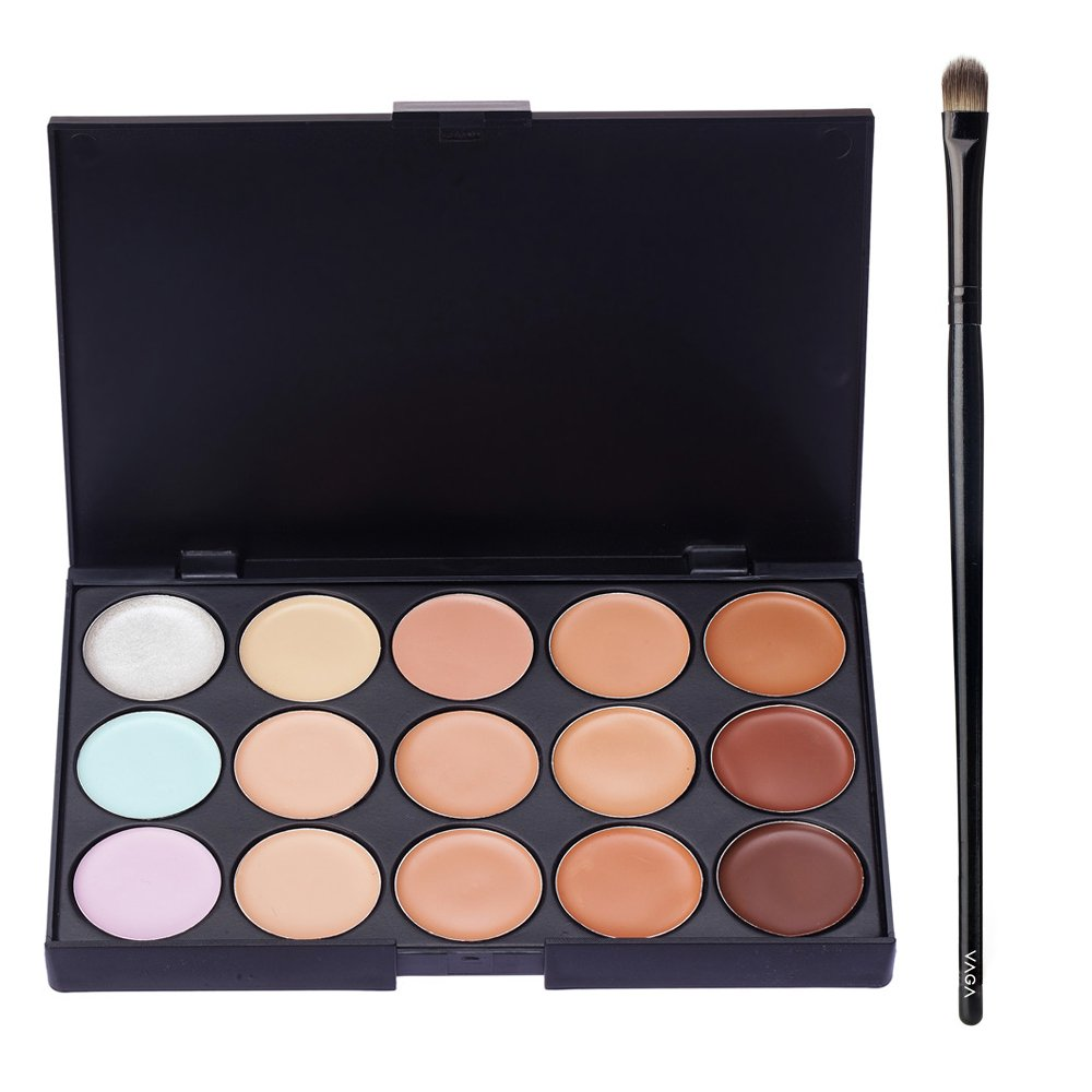 Great Value High Quality Make Up Artists Set of Concealers Palette With 15 Different Tones / Shades And Professional Wooden Concealer Application Brush With Synthetic Bristles By VAGA