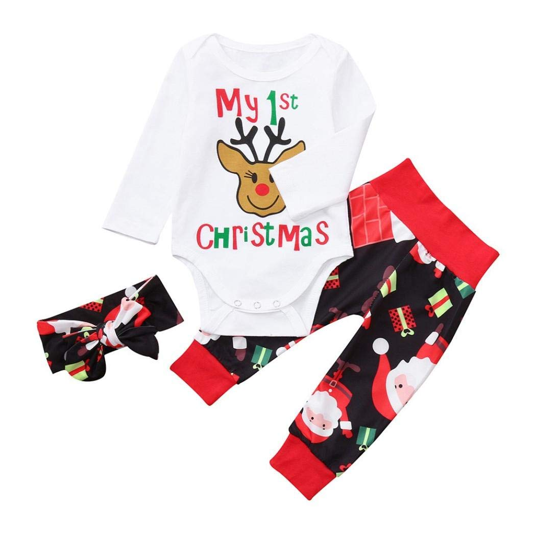 H.eternal Baby Boys Girl Christmas Playsuit Romper Bodysuits My 1st Christmas Deer Print Clothes Jumpsuit Headband Warm Long Pants Outfit Sleepwear Pyjamas Sets for 3-18m Child
