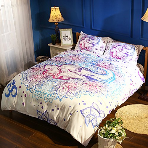 Prom Bedding Poly Fiber 3PC Bedding Sets 3D India Buddhism Elephant Printing Duvet Cover King Size