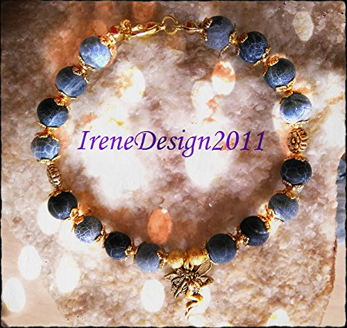 Blue Frosted Vein Agate & Fairy Bracelet