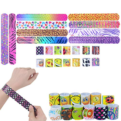 MNBS Slap Bracelets, 24pcs Slap Bands for Kids Party Favors Pack with Colorful Hearts Animal Emoji Gift for Party Bag ()