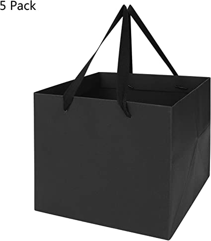 100 Pcs High Quality Gift Bags with Ribbon Handles Favours Bag Black Red Folding