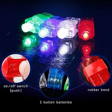 Kohree Kit de 100/piezas dedos luces LED luz luminosa Finger Lights a 4/colores juguetes preferito para fiesta Party Concierto
