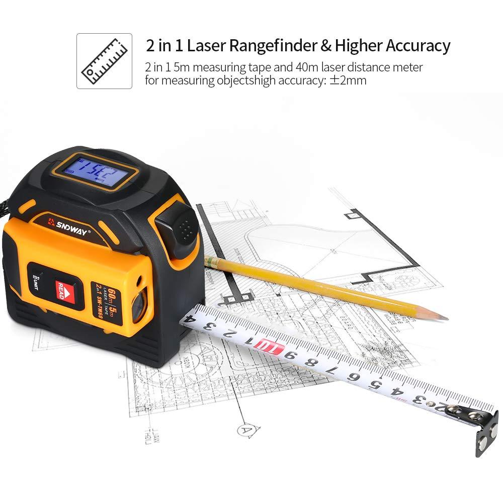 cinta m/étrica l/áser Medidor de distancia l/áser digital de rango de tel/émetro de mano con localizador de rango de infrarrojos