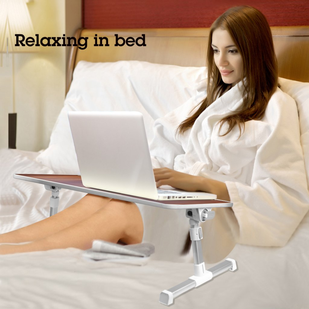 Adjustable Laptop Bed Table American Cherry Notebook Stand Reading Holder for Couch Floor Kids Foldable Sofa Breakfast Tray Neetto Large Size Portable Standing Desk