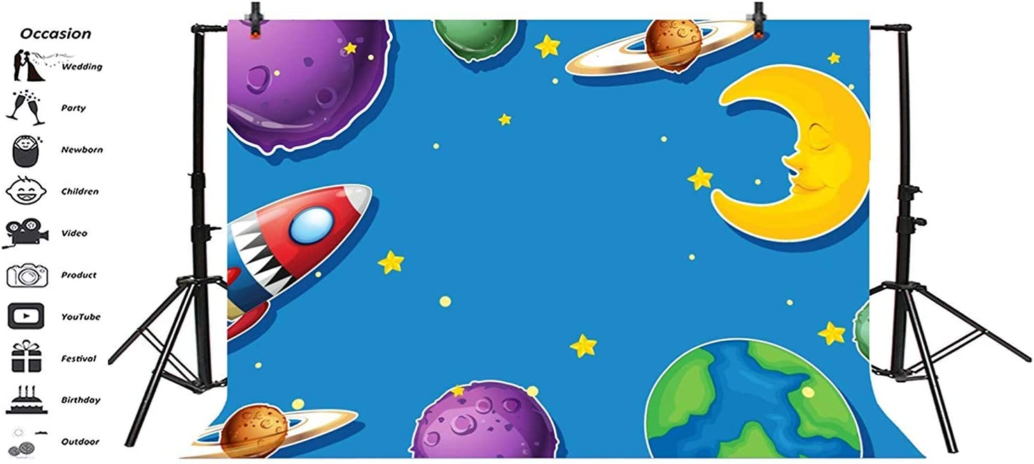 Surreal Single Tree on Galaxy with Stars Meteors Unusual Sci Fi Panorama Background for Kid Baby Boy Girl Artistic Portrait Photo Shoot Studio Props Video Drape Vinyl 8x10 FT Photography Backdrop
