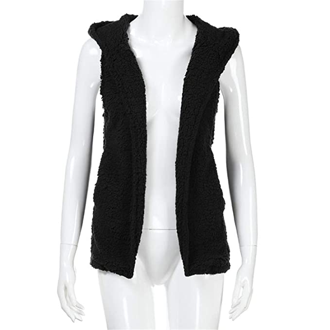 Womens Vest Winter Warm Hoodie Outwear Casual Coat Faux Fur ...