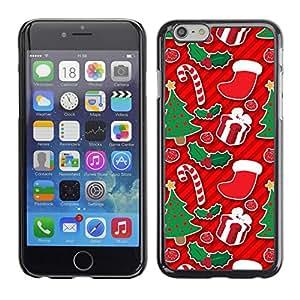 TopCaseStore / la caja del caucho duro de la cubierta de protección de la piel - Tree Candy Cane Red Gift - Apple iPhone 6 Plus 5.5
