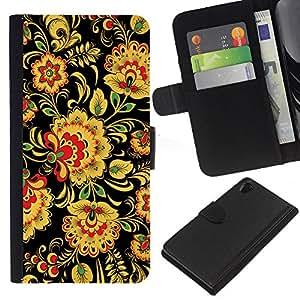 Sony Xperia Z2 D6502 D6503 D6543 L50t L50u , la tarjeta de Crédito Slots PU Funda de cuero Monedero caso cubierta de piel ( Floral Pattern Wallpaper Art Flowers Yellow)