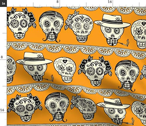 (Sugar Skull Fabric - La Galeria De Los Muertos Day of The Dead Party Mexico Skulls Halloween Calavera Print on Fabric by The Yard - Petal Signature Cotton for Sewing)