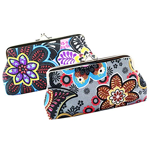 Oyachic Coin Purse 2 Packs Phone Pouch Flower Pattern Clasp Closure Wallet Gift (Gray and pink)