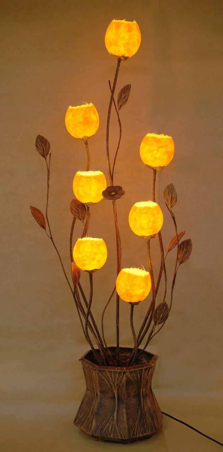 Mulberry Rice Paper Ball Handmade Seven Flower Bud Design Art Shade Yellow Round Globe Lantern Brown Asian Oriental Decorative Accent Home Decor Bedroom Floor Uplight Lamp
