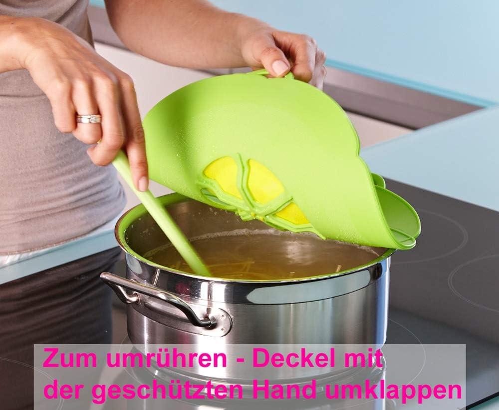 mit Frischhaltedeckel gratis das Original vom Erfinder Armin Harecker L 29 cm orange Kochblume /Überkochschutz f/ür Topfgr/ö/ßen von /Ø 14 bis 24 cm