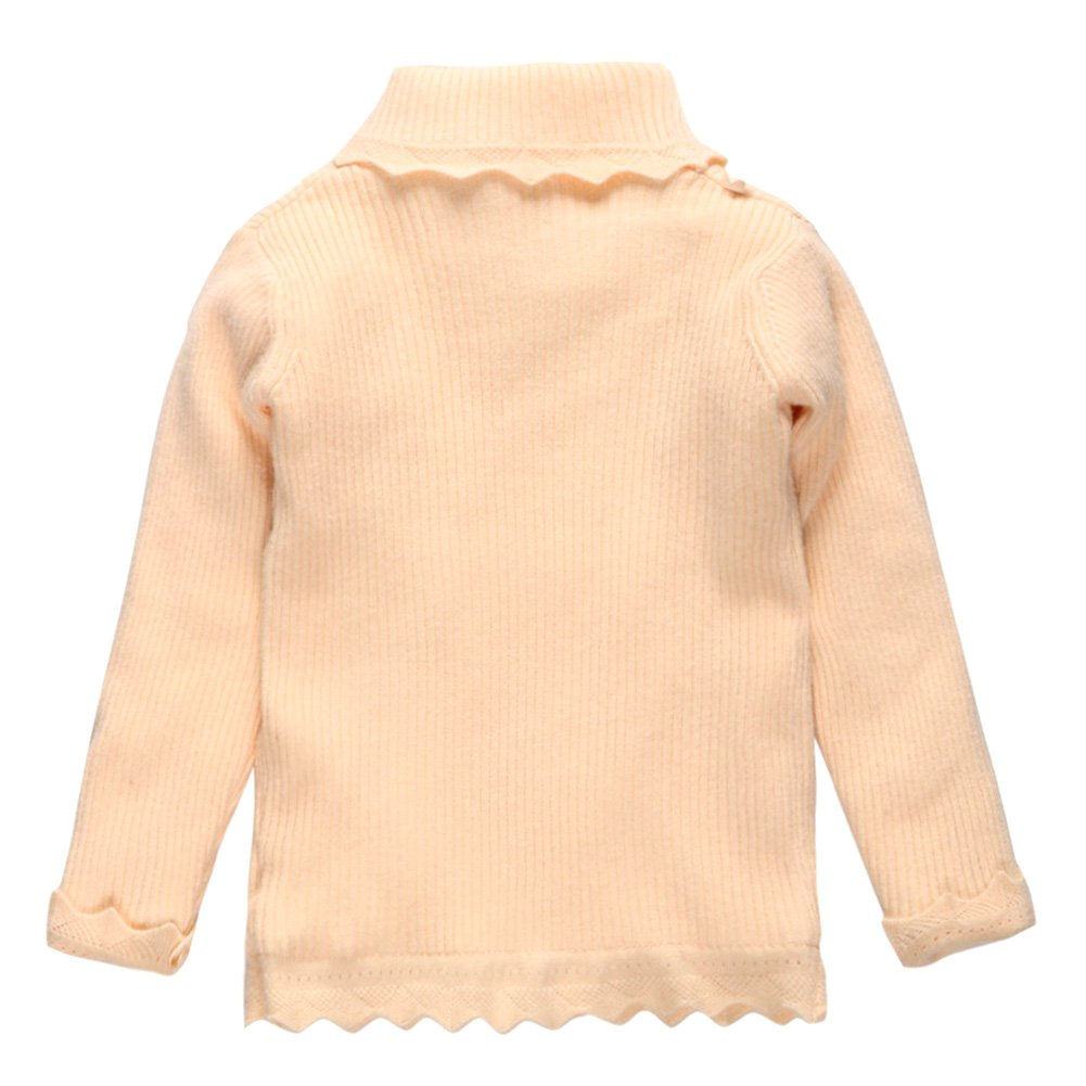 Coodebear Little Baby Girls Turtle Neck Velvet Lined Undershirts Sweater