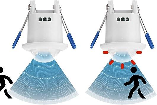 Compensation de Temp/érature Denash Capteur de Mouvement Intelligent pour Plafonnier//Corridors//sous-sols//Garages//Entrep/ôts Temporisation Commutateur de Capteur Automatique Encastr/é /à 360 /°