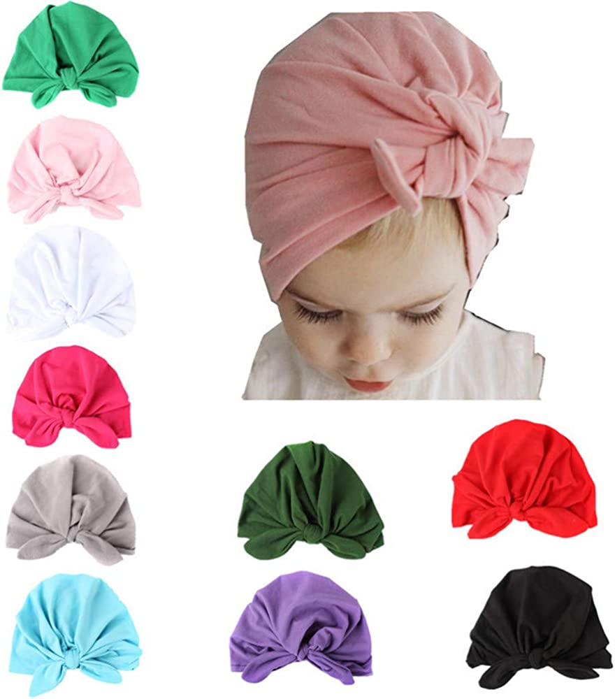 Toddler Kids Baby Boy Girl Turban Beanie Hat Newborn Headband Knot Head Wrap Cap
