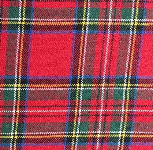 5 Yard Bolt Royal Stewart Plaid Flannel Cotton Fabric - Flannel Fabric Bolt