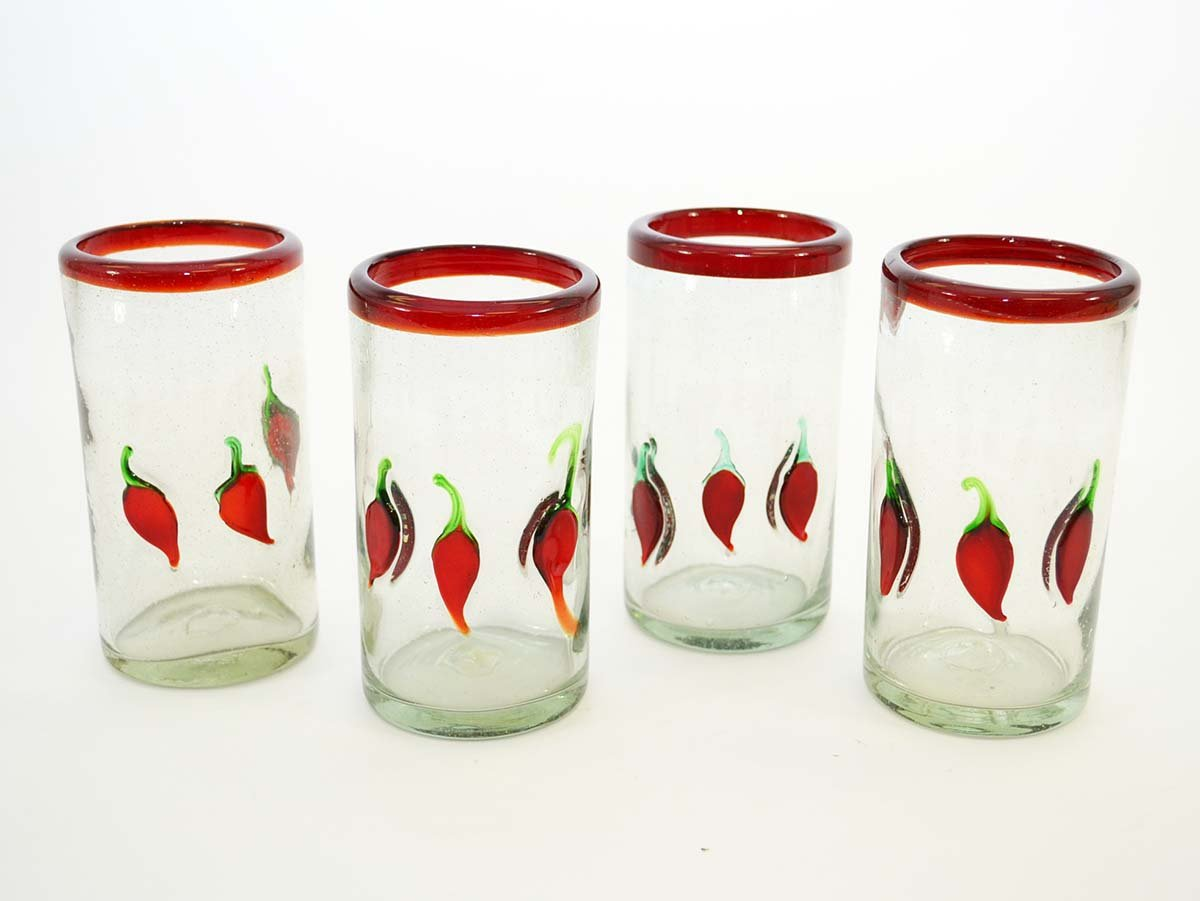 Set of 4, Mexican Red Rim Ice Tea Glasses with Chilis-16 ounces