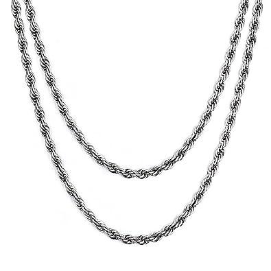 Vnox Acero inoxidable torcido cordón cadena collar para hombres mujeres