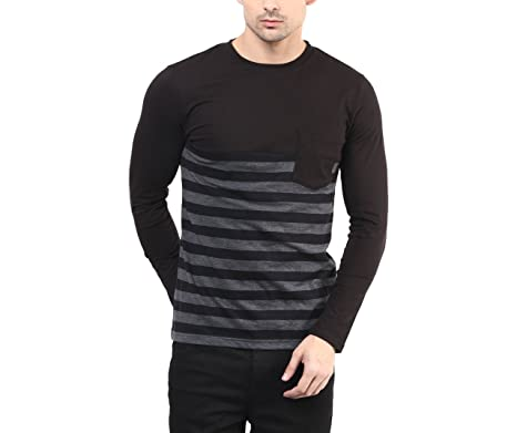 Hypernation Black and Grey Color Stripped T-Shirt for Men: Amazon ...