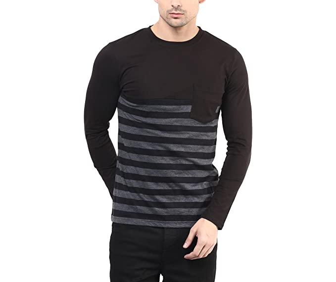 f114c53db63 Hypernation Black and Grey Color Stripped T-Shirt for Men (HYPM0482 ...