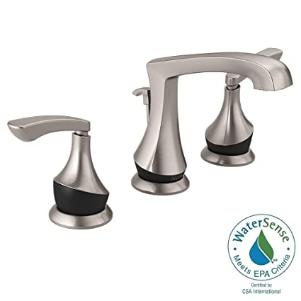 Delta Merge 8 Inch Widespread 2 Handle Bathroom Faucet In SpotShield  Brushed Nickel/Matte