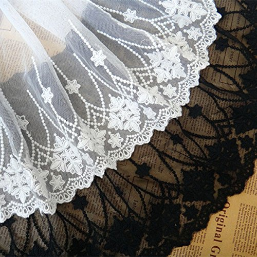 2 yards Lace Trim 3D Embroidery Lace Fabric 9 inches Width ()