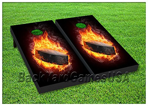 VINYL WRAPS Cornhole Boards DECALS Hockey Puck on Fire Bag Toss Game Stickers (Puck Bean Bag)