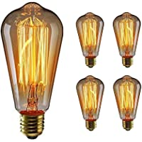 WEDNA 4 Pack ST64 E27 Edison Screw Bulb, 60W 220V Vintage Light Antique Style Light Bulb Classic Squirrel Cage Filament Dimmable Lamp